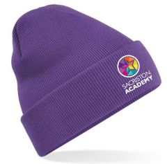 Purple Knitted Hat with turn up - Embroidered with Sacriston Academy Logo