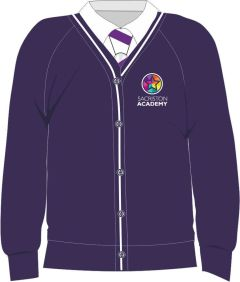 Purple/White Trim Cardigan - Embroidered with Sacriston Academy Logo