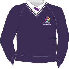 Purple/White Trim Jumper - Embroidered with Sacriston Academy Logo