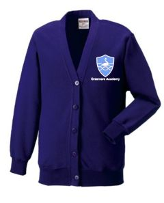 Purple Cardigan - Embroidered With Grasmere Academy Logo