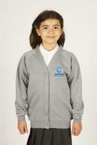Grey Sweat Cardigan (Up to Class 13) - Embroidered with Cleaswell Hill School Logo