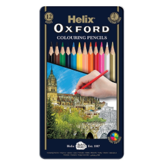 Helix Oxford Colouring Pencils 12 Pack in a tin