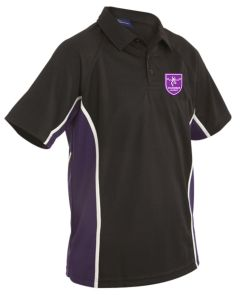 Years 7, 8 & 9 Girls PE Polo Top Black/Purple - Embroidered with Staindrop Academy Logo