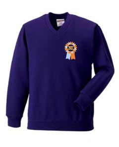 Purple V-Neck Sweatshirt with Embroidered Seaton Sluice First School Logo