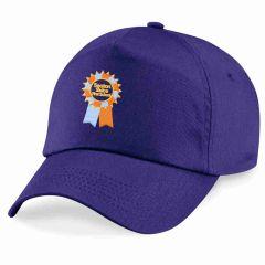 Purple Blue Summer Cap with Seaton Sluice First School Logo