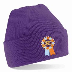 Purple Knitted Hat embroidered with the Seaton Sluice First School Logo