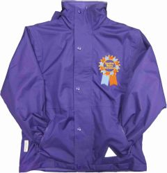 Purple Stormproof Coat with Seaton Sluice First School Logo