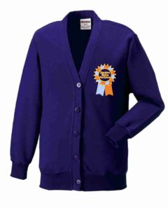 Purple Cardigan with Embroidered Seaton Sluice First School Logo