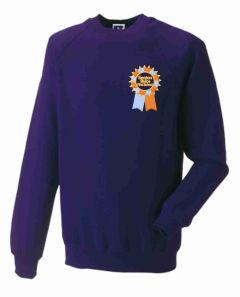 Purple Crew Neck Sweatshirt with Embroidered Seaton Sluice First School Logo