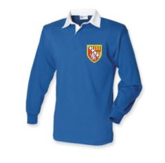 Royal Rugby Shirt (PE) embroidered with the Seaton Sluice Middle School Logo