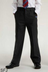Junior Boys Black Slim Leg Trousers (SFJ) - Embroidered with George Stephenson High School Logo