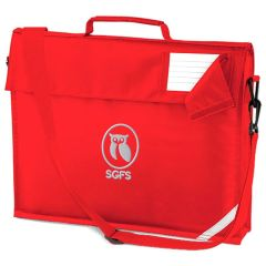 Red Bookbag with a strap - Embroidered With South Gosforth First School Logo