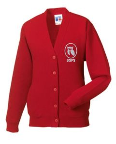 Red Cardigan - Embroidered With South Gosforth First School Logo