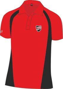 Standard PE Scarlet/Black Akoa Polo Top - Embroidered with Shotton Hall Academy Logo