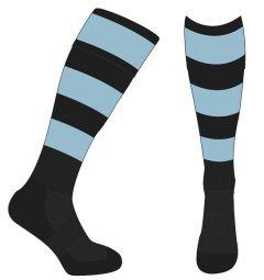Black/Sky Hooped Socks