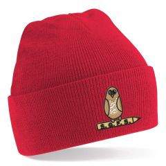 *SALE* Red Knitted Hat - Embroidered With South Gosforth First School Logo