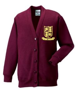 Burgundy Cardigan - Embroidered With Spring Gardens Primary School Logo