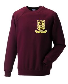 Burgundy Sweatshirt (Crew Neck) - Embroidered With Spring Gardens Primary School Logo
