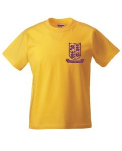 Gold PE T-Shirt (Crew Neck) - Embroidered With Spring Gardens Primary School Logo