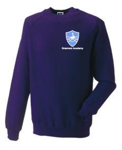 Purple Sweatshirt (Crew Neck) - Embroidered With Grasmere Academy Logo