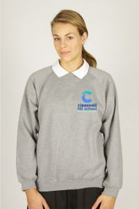 Grey Sweatshirt (Up to Class 13) - Embroidered with Cleaswell Hill School Logo