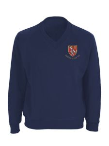 Navy V'Neck Sweatshirt embroidered with the Seaton Sluice Middle School Logo