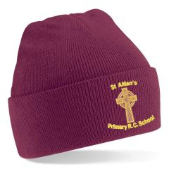 Burgundy Knitted Hat - Embroidered with St Aidan's RC Primary School Logo