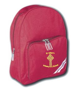Burgundy Infant Back Pack - Embroidered with St Aidan's RC Primary School Logo