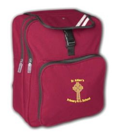 Burgundy Junior Back Pack - Embroidered with St Aidan's RC Primary School Logo