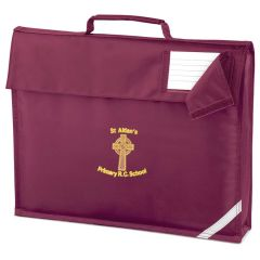 Burgundy Book Bag - Embroidered with St Aidan's RC Primary School Logo