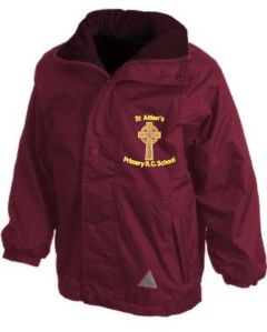 Burgundy Stormproof Coat - Embroidered with St Aidan's RC Primary School Logo