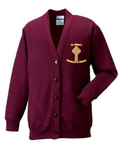 Burgundy SweatCardigan - Embroidered with St Aidan's RC Primary School Logo