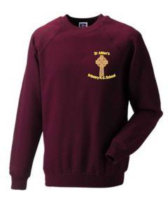 Burgundy Crew-neck sweatshirt - Embroidered with St Aidan's RC Primary School Logo