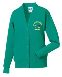 *Nursery* Emerald Sweat Cardigan- Embroidered with St Bartholomew's Nursery School logo