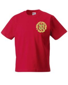 Red PE T-shirt - Embroidered with St Bartholomew's C of E Primary School Logo