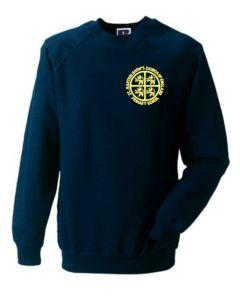 Navy Crew Neck Sweatshirt - Embroidered with St Bartholomew's C of E Primary School Logo