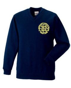 Navy V-Neck Sweatshirt - Embroidered with St Bartholomew's C of E Primary School Logo