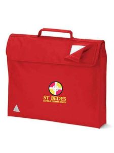 Red Bookbag - Embroidered with St Bede's Catholic Primary School logo