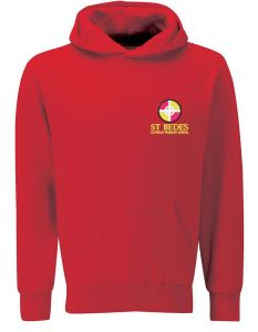 Red Hoodie - Embroidered with St Bede's Catholic Primary School logo