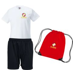 PE KIT (T-shirt, Shorts & PE Bag) - Embroidered with St Bede's Catholic Primary School logo