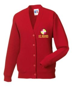 Red V-Neck Sweatcardigan - Embroidered with St Bede's Catholic Primary School logo