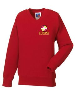 Red V-Neck Sweatshirt - Embroidered with St Bede's Catholic Primary School logo