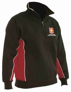 Black, Red and White Panelled Zip Top embroidered with St Benet Biscop Logo