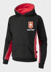 Black/Red Hooded Top - Embroidered with St Benet Biscop Catholic Academy logo
