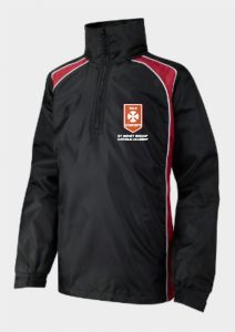 Black/Red Rain Jacket - Embroidered with St Benet Biscop Catholic Academy logo