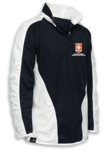 Boys Black/White Rugby Shirt - Embroidered with St Benet Biscop Catholic High School Logo