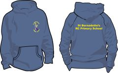 PE Navy Hoodie - Embroidered with St Bernadettes RC PS Logo & Printed on the back