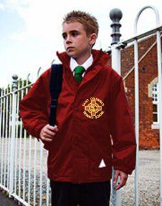 Burgundy Stormproof Coat with St Columba's R.C. Primary School Logo