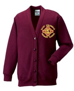 Burgundy Sweatshirt Cardigan with embroidered St Columba's RC Primary School Logo