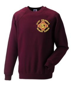 Burgundy Sweatshirt with embroidered St Columba's RC Primary School Logo
